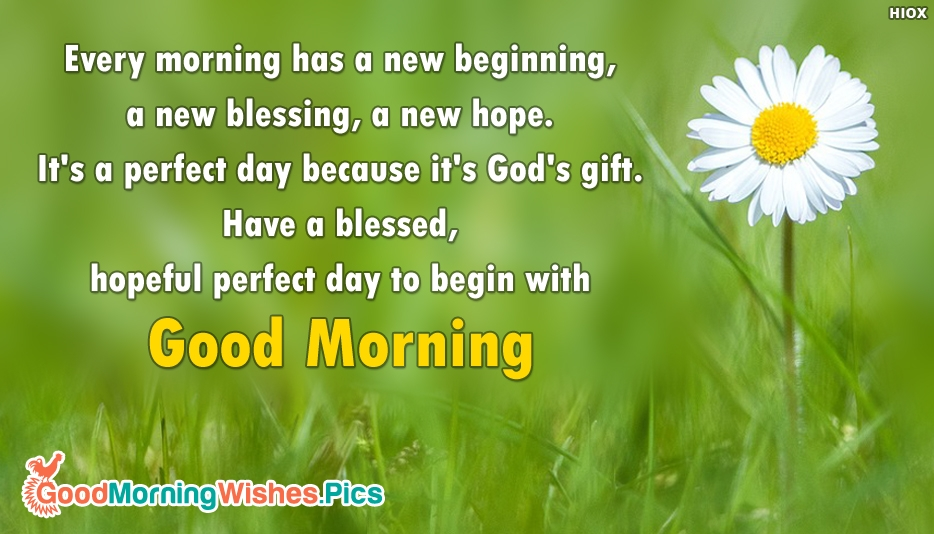 Every Morning has a New Beginning, a New Blessing, a New Hope. It