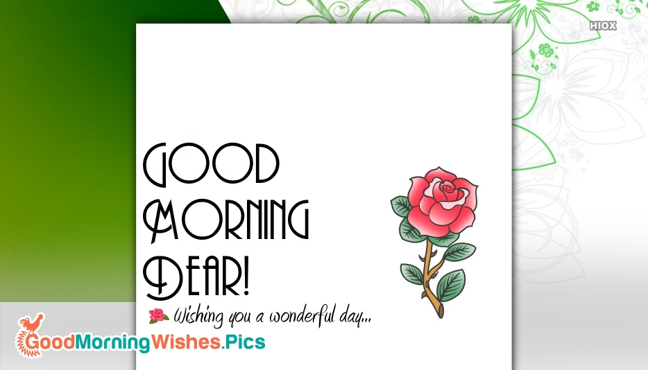 Good Morning Dear Have A Wonderful Day Wishes