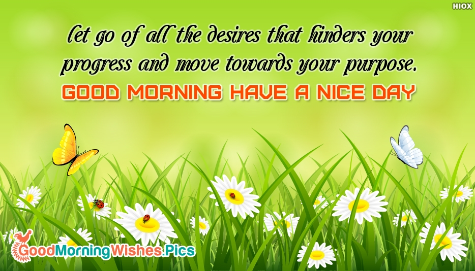 Let Go of All the Desires that Hinders Your Progress and Move Towards Your Purpose. Good Morning Have a Nice Day - Inspirational Good Morning Quotes and Images