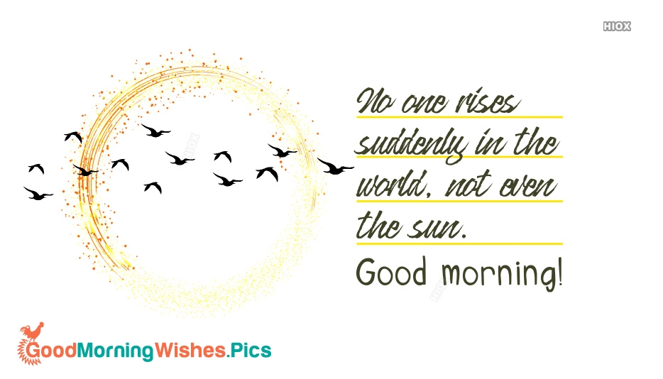 No One Rises Suddenly In The World, Not Even The Sun