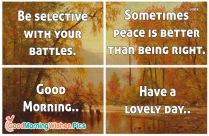 Be Selective With Your Battles. Sometimes Peace Is Better Than Being Right. Good Morning.. Have